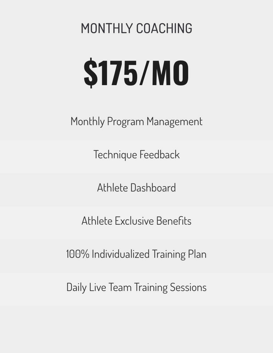 bf20197bba0 This option is best for athletes who have experienced our Weekly Coaching  option and who don t ...